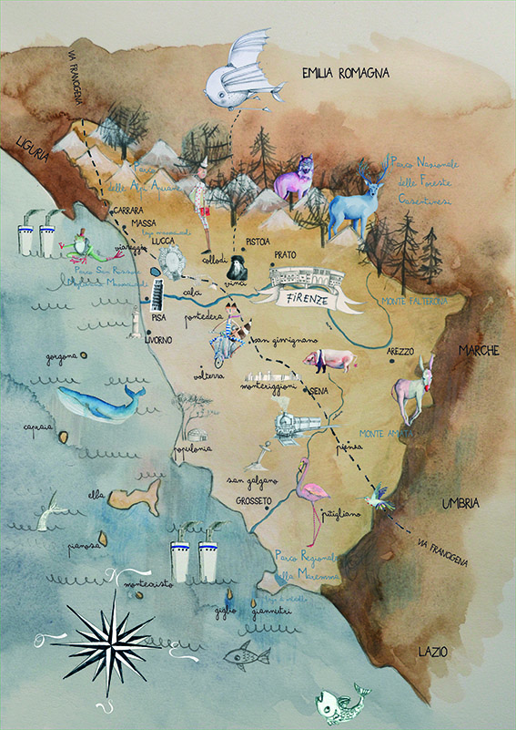 Immagini Cartina Toscana.La Mappa Di Una Toscana Fantastica Intervista A Cecilia Cavallini Intoscana